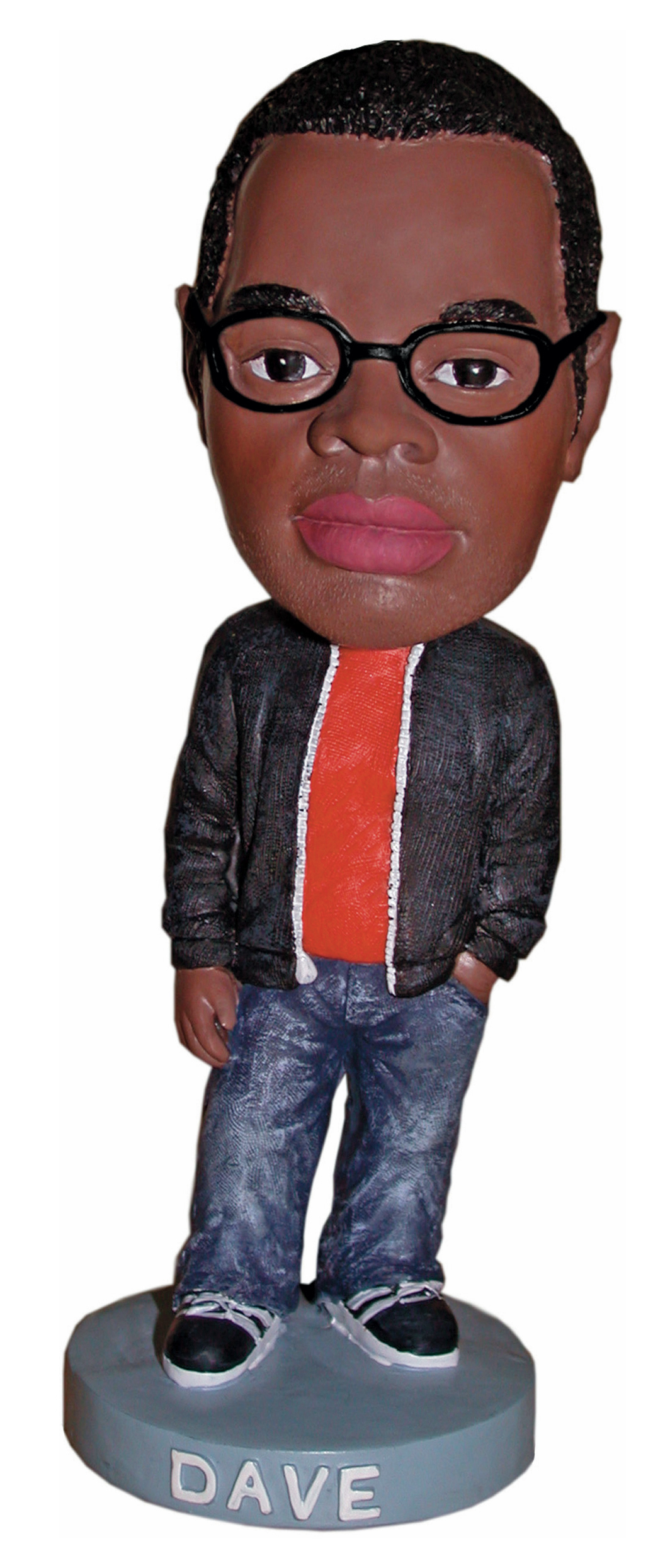 Bobblehead from Dave McKenzie's While Supplies Last, 2003, performance, poly-resin figures, 7 × 2 1⁄2 × 2 1⁄2