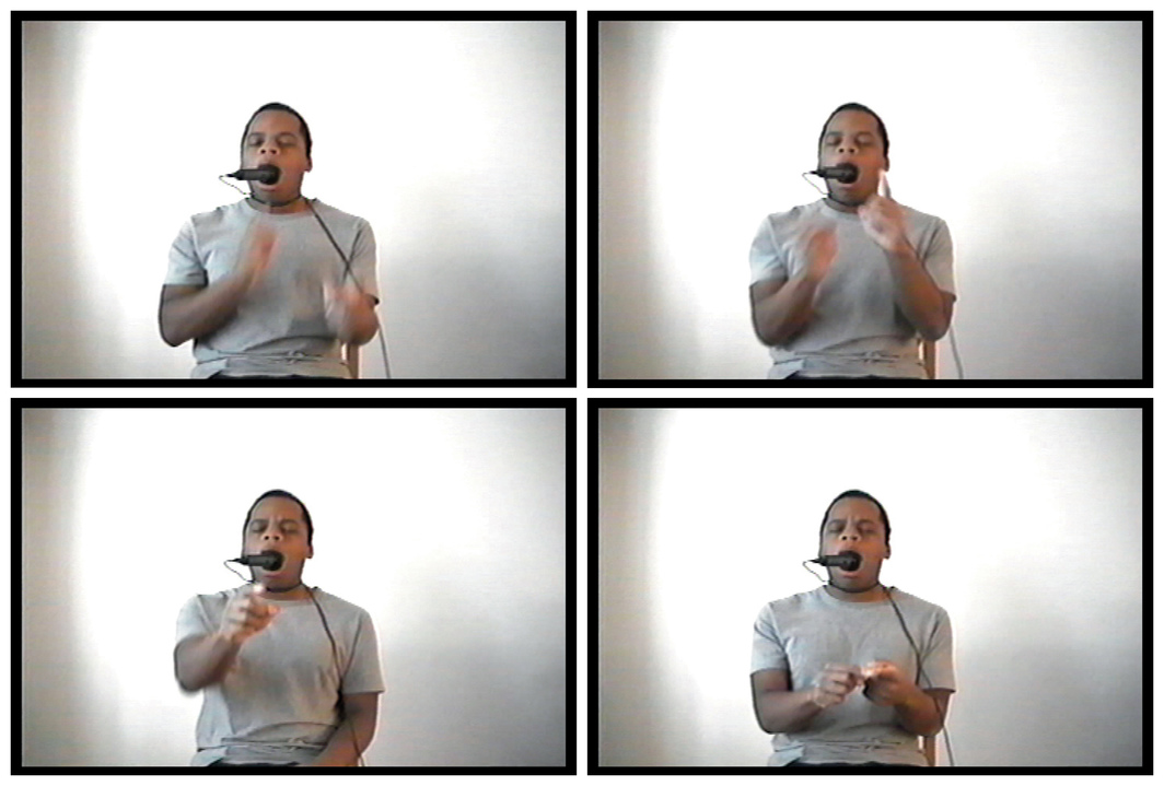 Four stills from Dave McKenzie's Babel, 2000, video, color, sound, 13 minutes 48 seconds. Dave McKenzie.