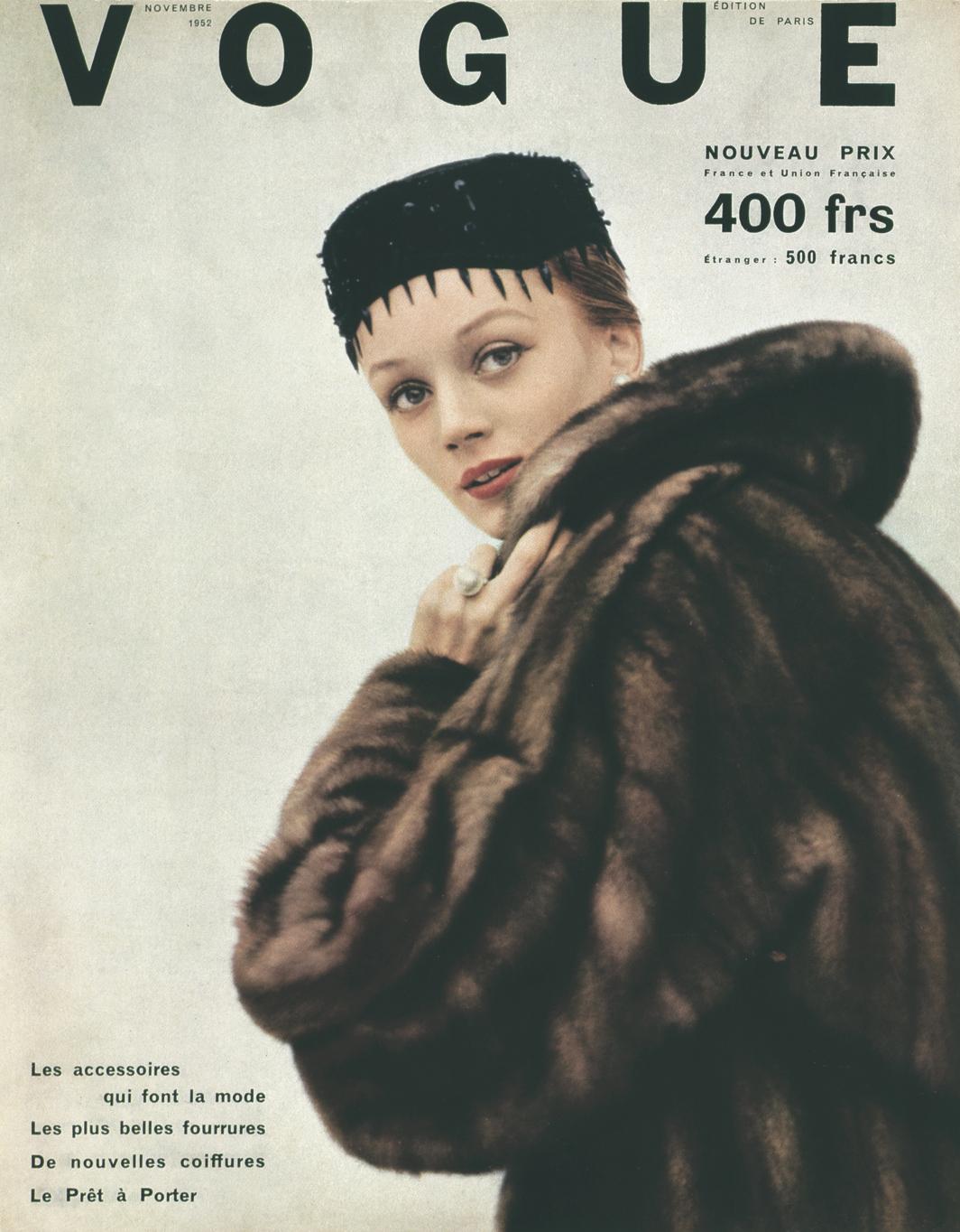 Cover of Vogue Paris, November 1952. Niki de Saint Phalle.