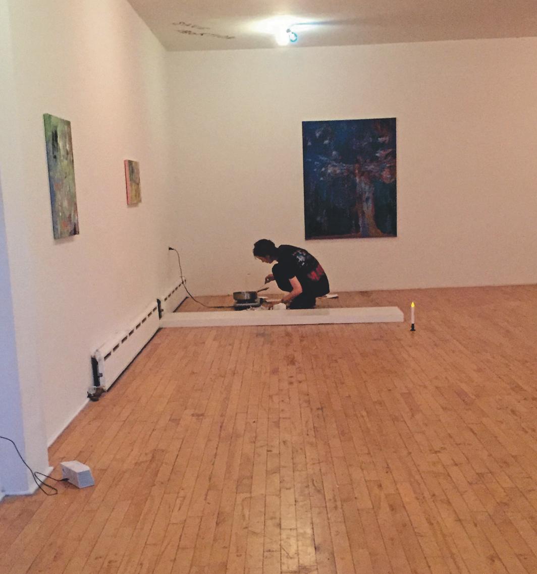 Whitney Claflin, Raised in a Jail, 2017. Performance view, Real Fine Arts, New York, March 6, 2017. Whitney Claflin. Photo: Annie Ochmanek.