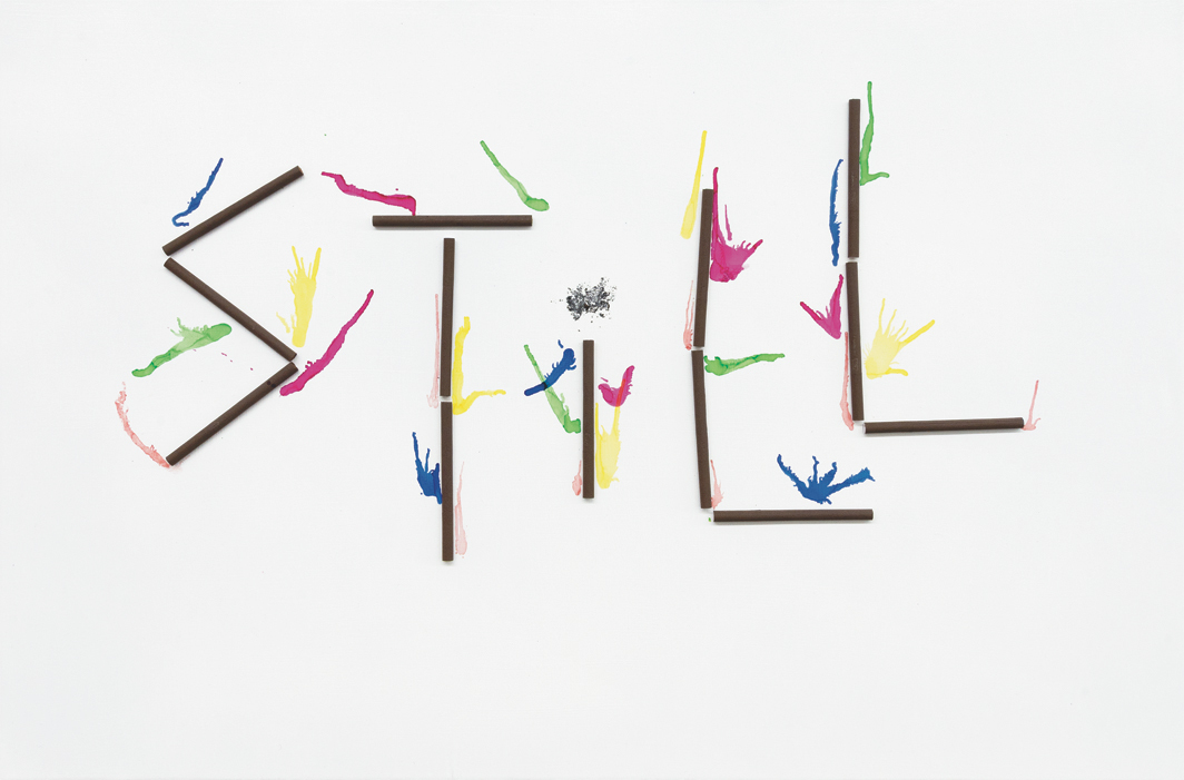 Whitney Claflin, Life ('s like this), 2020, Nat Sherman cigarettes, ash, alcohol ink, enamel on found fabric, 20 × 30