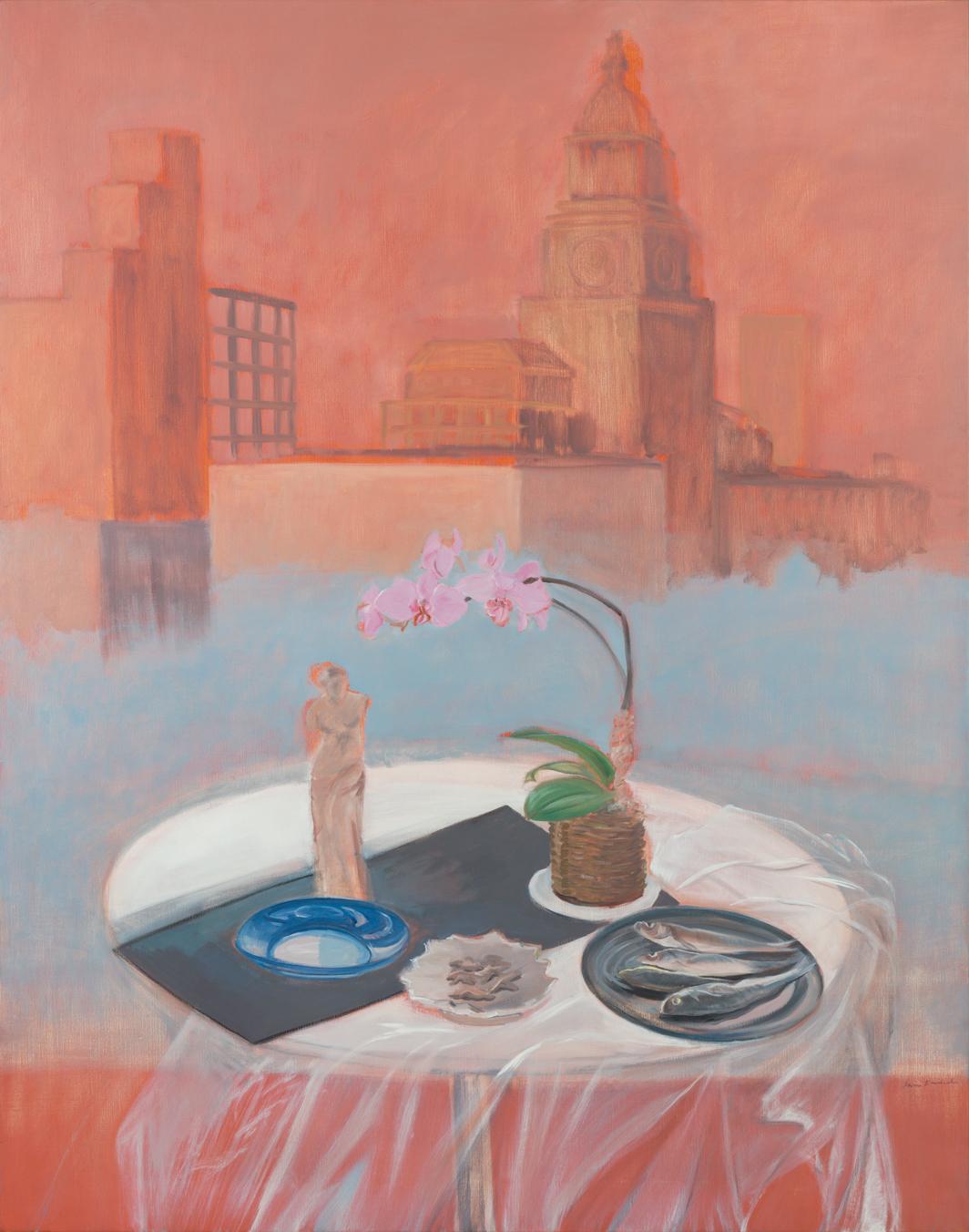 Jane Freilicher, Parts of a World, 1987, oil on linen, 68 1⁄2 × 53