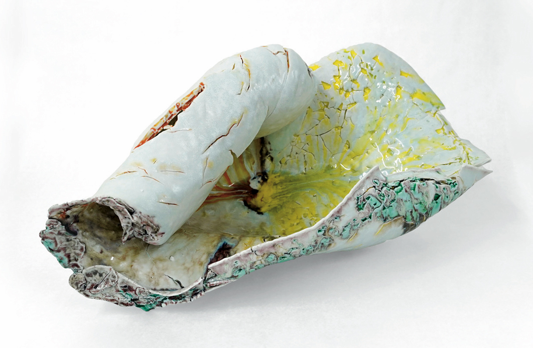 "Kentaro Kawabata, Batista 1, 2020, porcelain, glass, slag, feldspar, 13 × 30 × 15 3⁄4"". From ""Sea Change."""