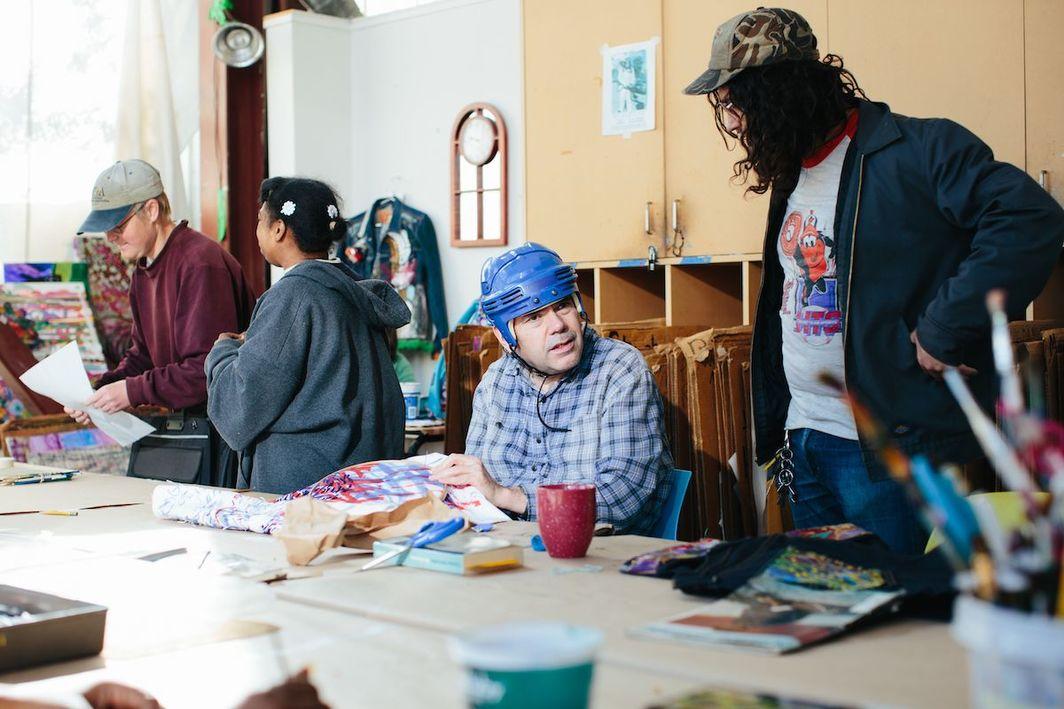 Creative Growth artist Dan Miller with studio instructor Steve Orilio. Photo: Diana Rothery. Courtesy of Creative Growth.