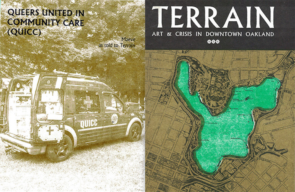 Left: A Risographed page from Terrain: Art and Crisis in Downtown Oakland (2021) highlighting Oakland street medic collective Queers United in Community Care. Courtesy of Pro Arts Gallery and COMMONS.