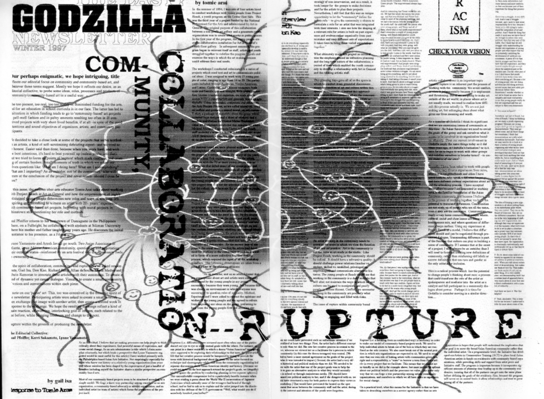 "Godzilla Newsletter, ""Community, Collaboration — Rupture,"" Winter 1997. Courtesy Godzilla."