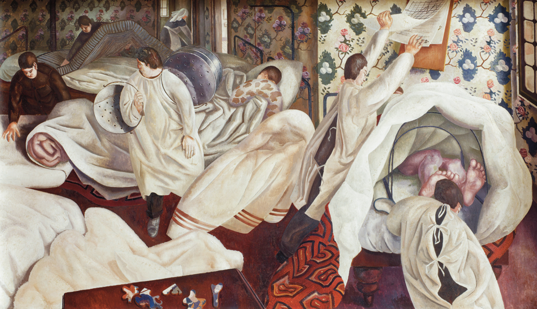 *Stanley Spencer, _Frostbite_, 1927–32, *oil on canvas, 41 1⁄2 × 73