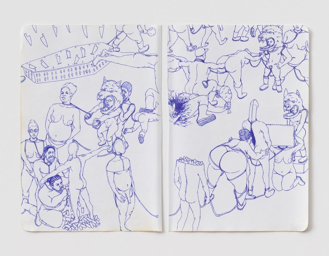 "James ""Yaya"" Hough, Untitled, 2008–2016,paper, ink, pencil, 8 1/4 x 11 1/4"