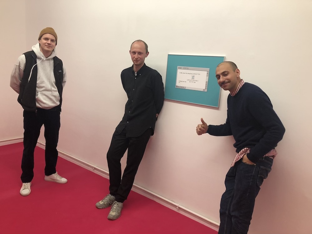 Collector Johannes Birkner-Behlen, artist Gerrit Frohne-Brinkmann, and dealer Noah Klink.