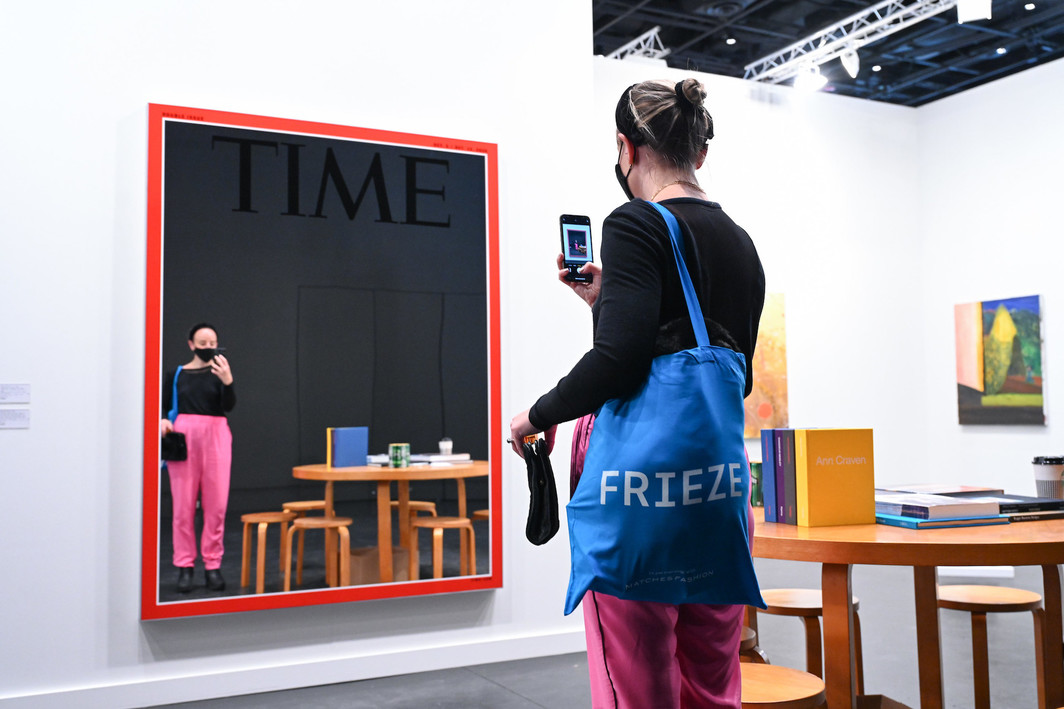 A Mungo Thomson work in Karma Gallery's booth at Frieze New York. Photo: Casey Kelbaugh/Frieze.
