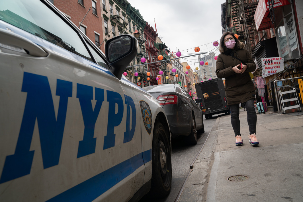 NYPD officers step up patrols in Asian communities after mass shootings in Atlanta, March 17, 2021. Photo: Getty.