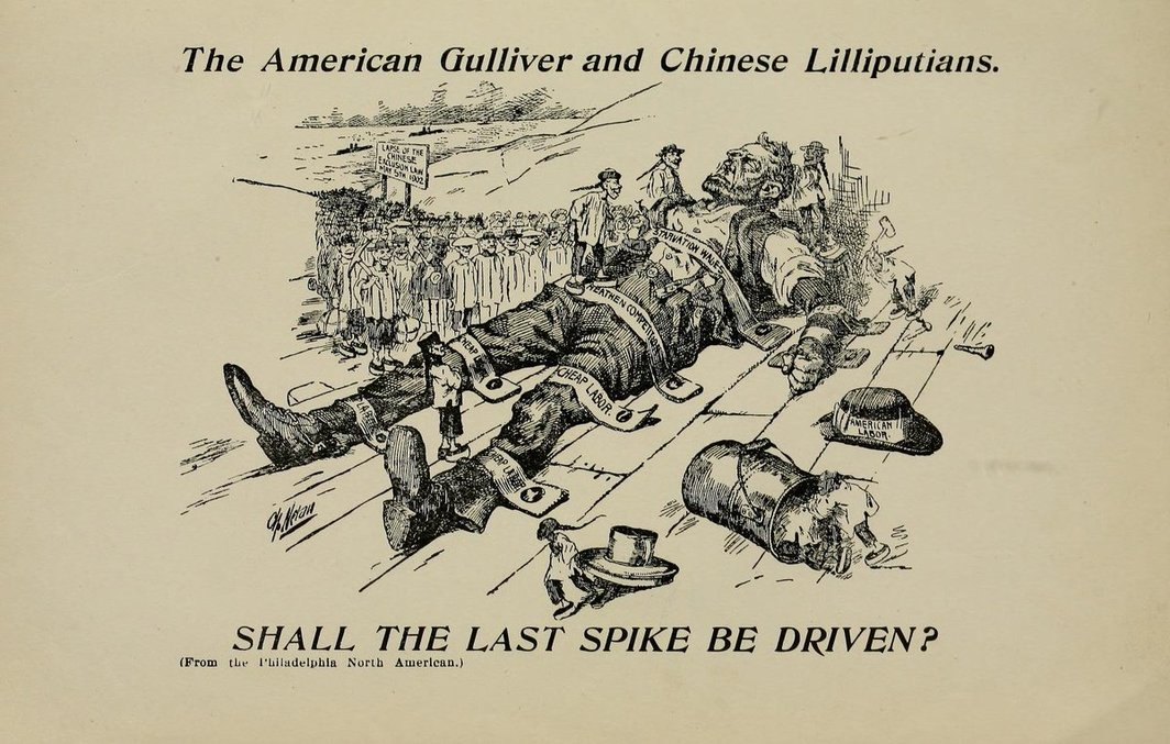 """Illustration from American Federation of Labor pamphlet, """"Some Reasons for Chinese Exclusion; Meat vs. Rice; American Manhood vs. Asiatic Coolieism; Which Shall Survive?,"""" 1902. Photo: Fales Library and Special Collections, New York University."""