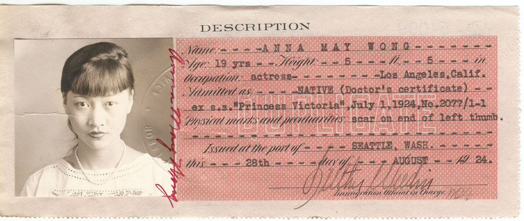 Actress Anna May Wong's Certificate of Identity, August 18, 1924. Photo: National Archives at San Francisco.