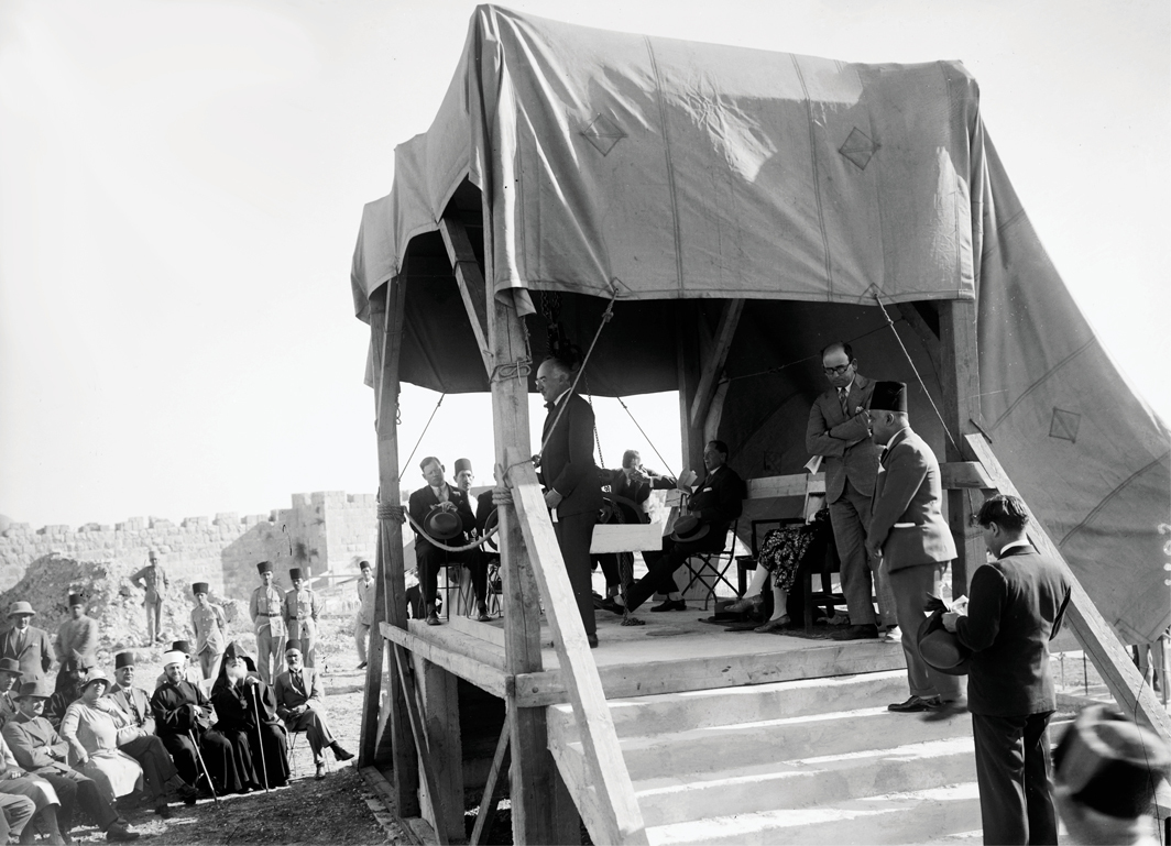 Cornerstone-laying ceremony for the Palestine Archaeological Museum, now known as the Rockefeller Museum, Jerusalem, June 19, 1930. Photo: Library of Congress.