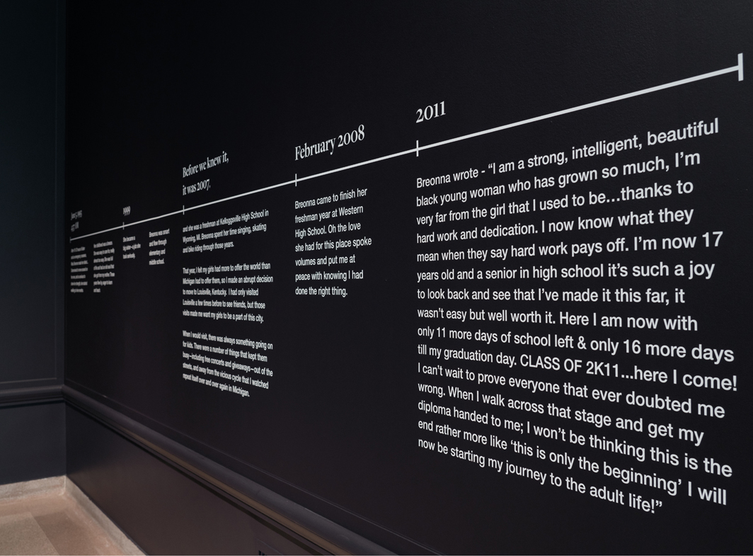 """View of """"Promise, Witness, Remembrance,"""" 2021, Speed Art Museum, Louisville, KY. Tamika Palmer's time line of Breonna Taylor's life. Photo: Bill Roughen."""