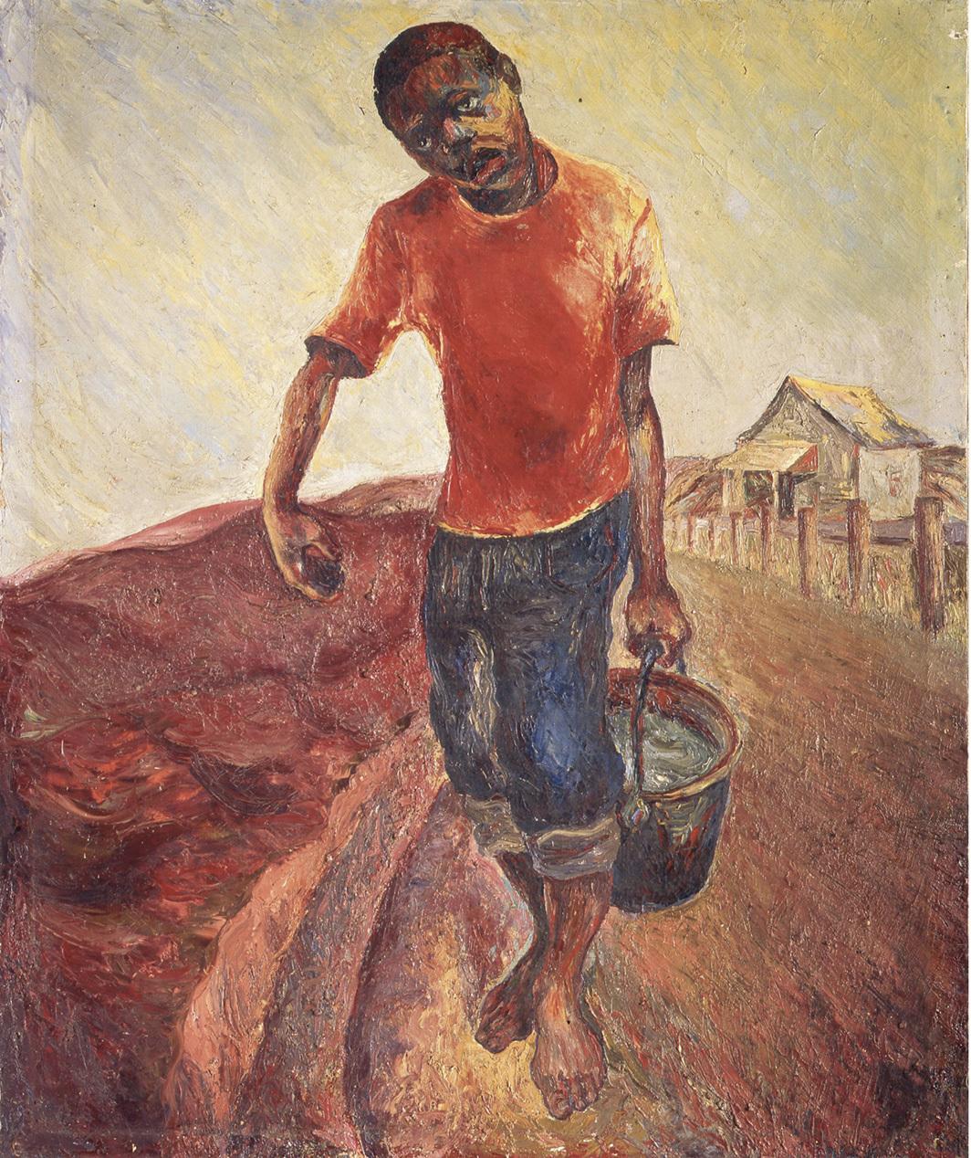 Samella S. Lewis, Water Boy, 1944, oil on canvas, 47 1⁄8 × 14 3⁄4