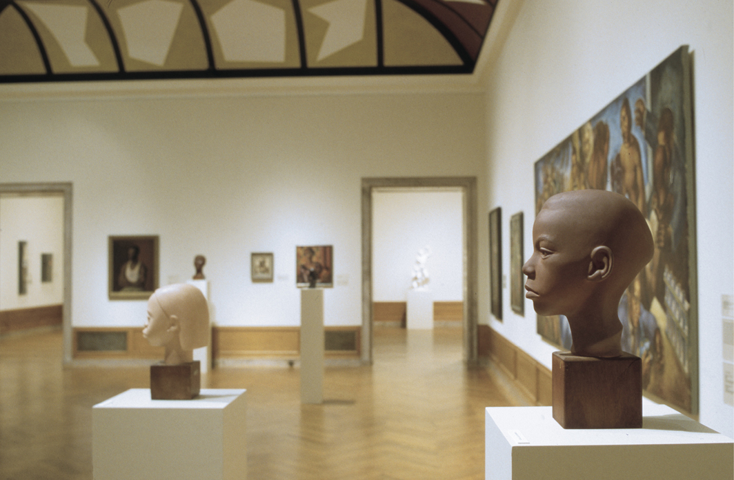 """View of """"To Conserve a Legacy: American Art from Historically Black Colleges and Universities,"""" 1999, Addison Gallery of American Art, Andover, MA."""