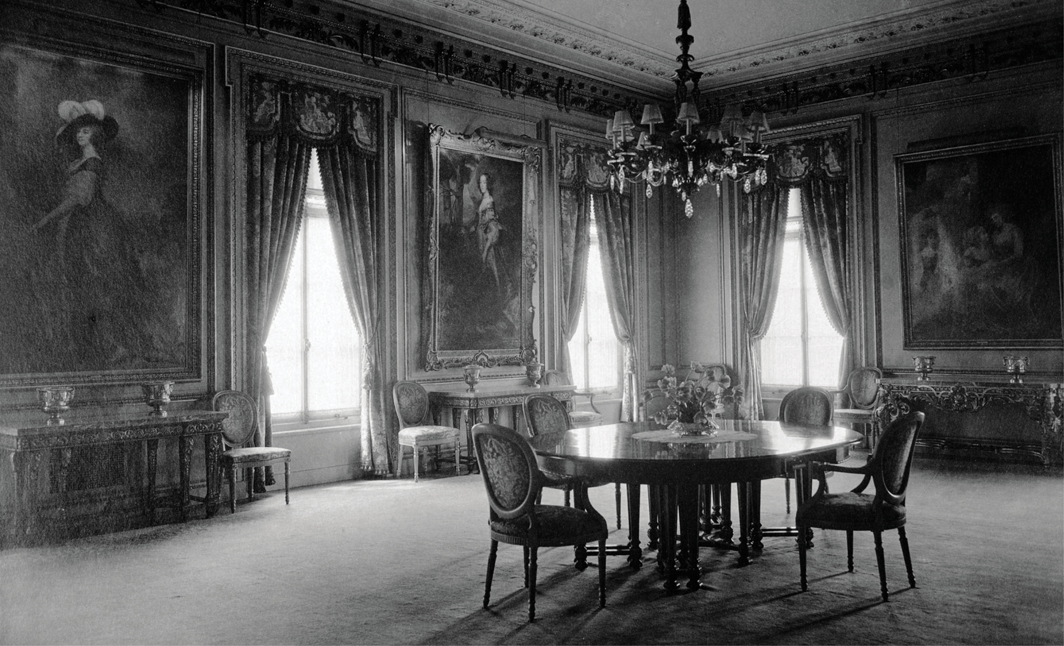 Dining room, Frick mansion, New York, 1927. From left: George Romney, Charlotte, Lady Milnes, 1788–92; Anthony van Dyck, Lady Anne Carey, Later Viscountess Claneboye and Countess of Clanbrassil, ca. 1636; George Romney, Henrietta, Countess of Warwick, and Her Children, 1787–89. Photo: Ira W. Martin.