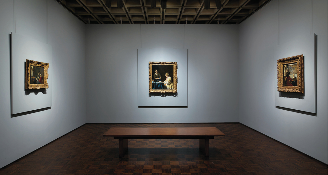 Frick Madison, New York, 2021. From left: Johannes Vermeer, Girl Interrupted at Her Music, ca. 1658–59; Johannes Vermeer, Mistress and Maid, ca. 1666–67; Johannes Vermeer, Officer and Laughing Girl, ca. 1657. Photo: Joe Coscia.