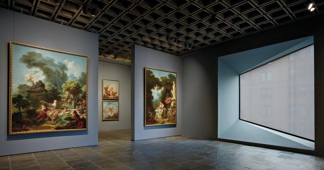 "Jean-Honoré Fragonard, ""Progress of Love"" series, 1771–91, oil on canvas. Installation views, Frick Madison, New York, 2021. Photo: Joe Coscia."