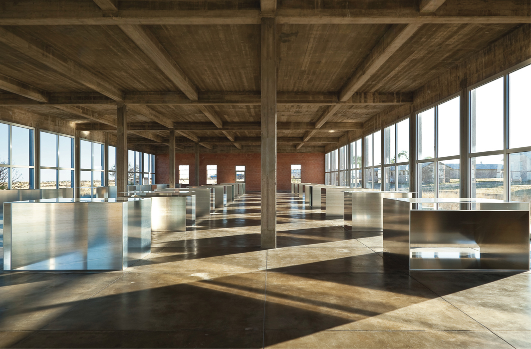Donald Judd, 100 untitled works, 1982–86, mill aluminum. Installation view, Chinati Foundation, Marfa, TX. Photo: Donald Tuck. © Judd Foundation/Artists Rights Society (ARS), New York.