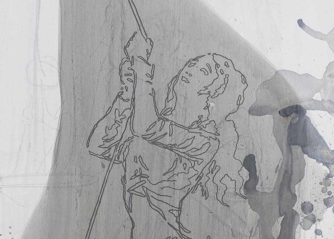 """Julião Sarmento, Tres lavanderas (nero) (dettaglio), 2020, gesso acrilico, grafite, marcatura a base d'acqua, serigrafia e smalto a base d'acqua su tessuto di lino, 65 x 52 3/4""""."""