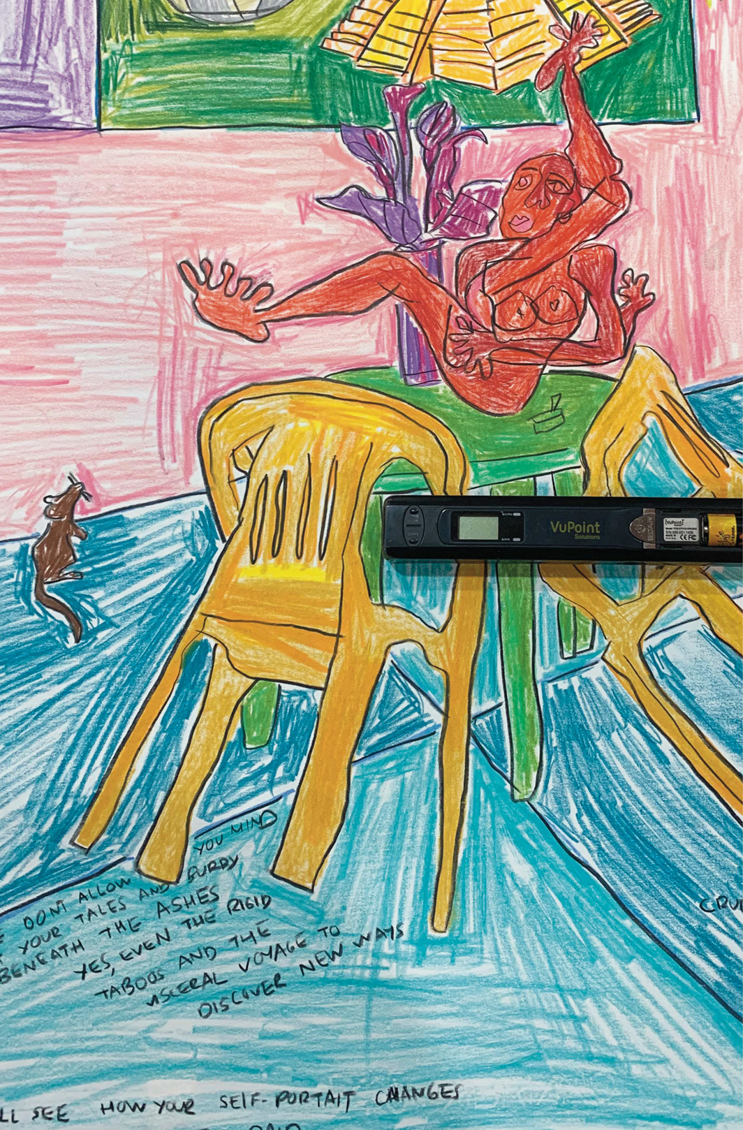 *Bárbara Sánchez-Kane's VuPoint Magic Wand portable scanner over one of her SOLRAC drawings, 2021. *