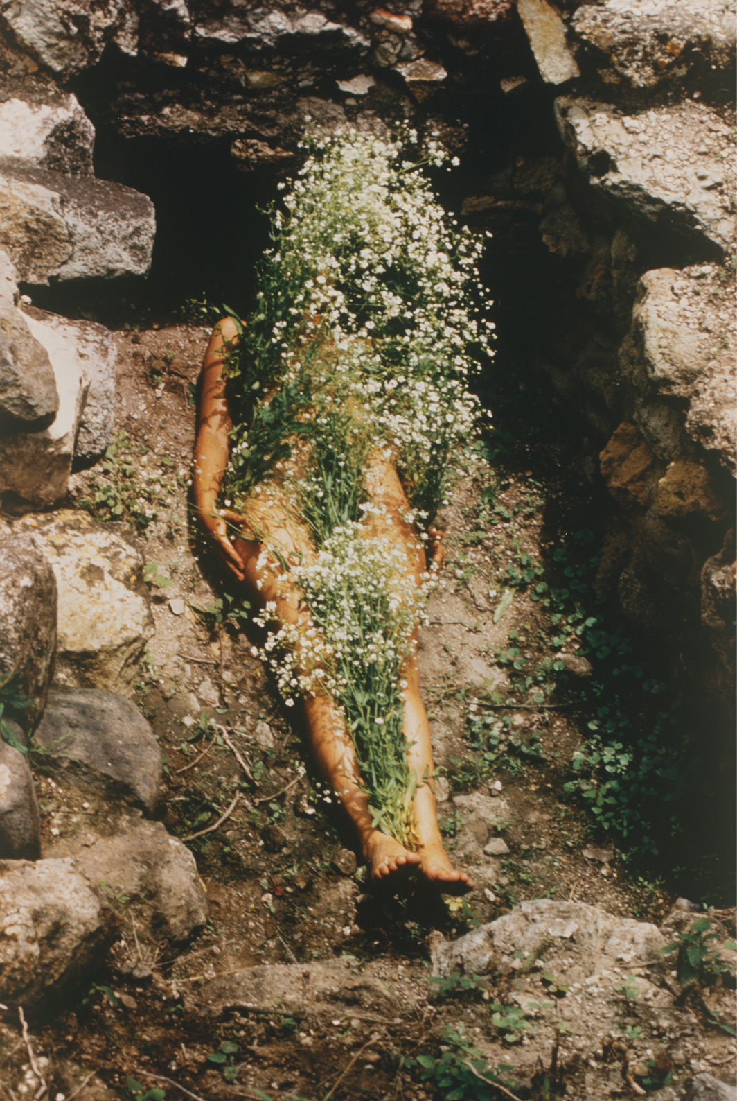 *Ana Mendieta, _Untitled: Silueta Series, Mexico From Silueta Works in Mexico, 1973–1977_, 1973, *C-print, 20 × 16