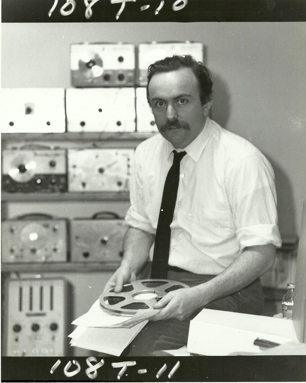 Alvin Lucier at Brandeis Electronic Music Studio, ca. late 1960s. Photographer unknown.