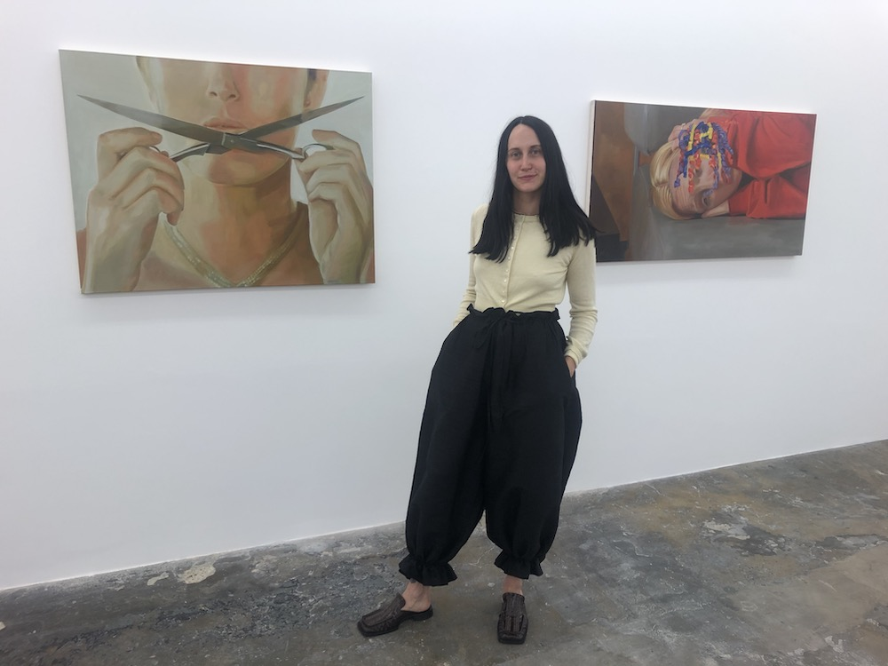 Antonia Marsh of Soft Opening Gallery with work by Shannon Cartier Lucy.