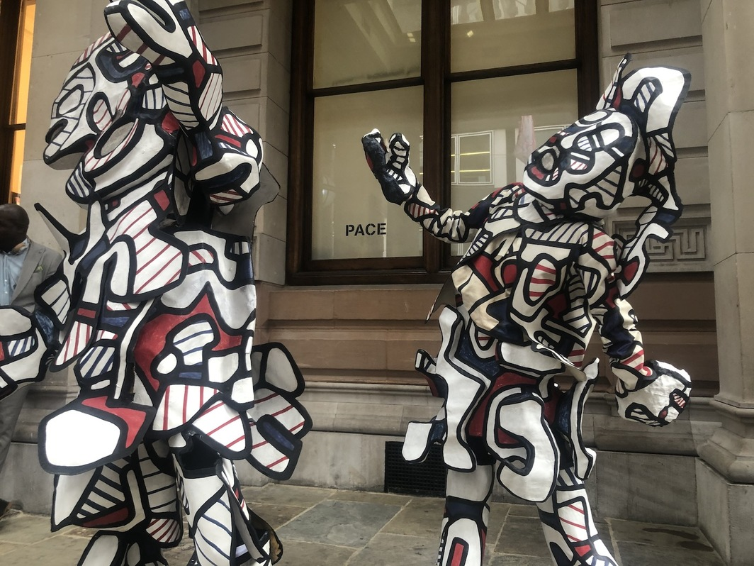 A performance at Pace Gallery of Jean Dubuffet's Fragments - Coucou Bazar, first staged at New York's Guggenheim Museum in 1973. All photos by author.