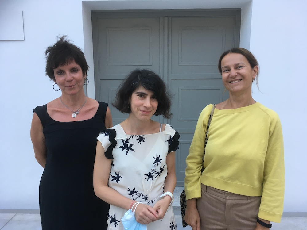 Artist Dora Economou, curator Galini Notti, and dealer Helena Papadopoulos.