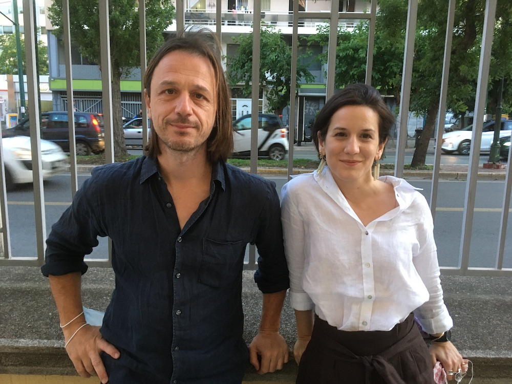 Artist Alexandros Georgiou and curator Stavia Grimani.