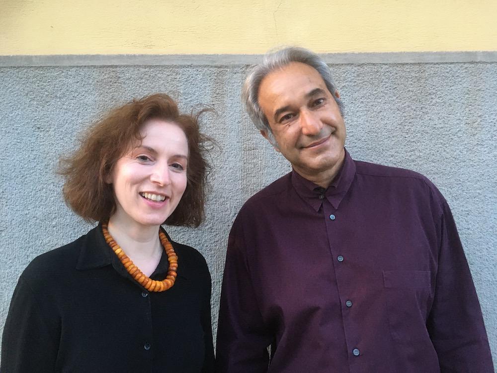 Curator Eleni Koukou and artist Panos Kokkinias.