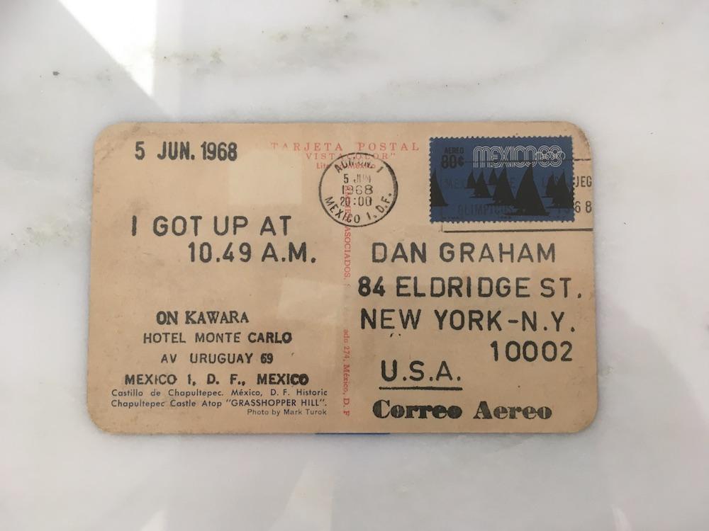 An On Kawara postcard to Dan Graham.