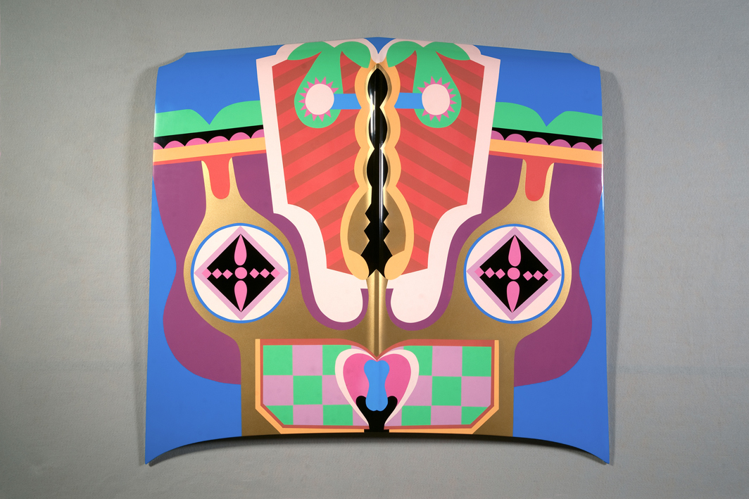 Judy Chicago, Birth Hood, 1965/2011, automotive lacquer on car hood, 42 7/8 × 42 7/8 × 4 1/4