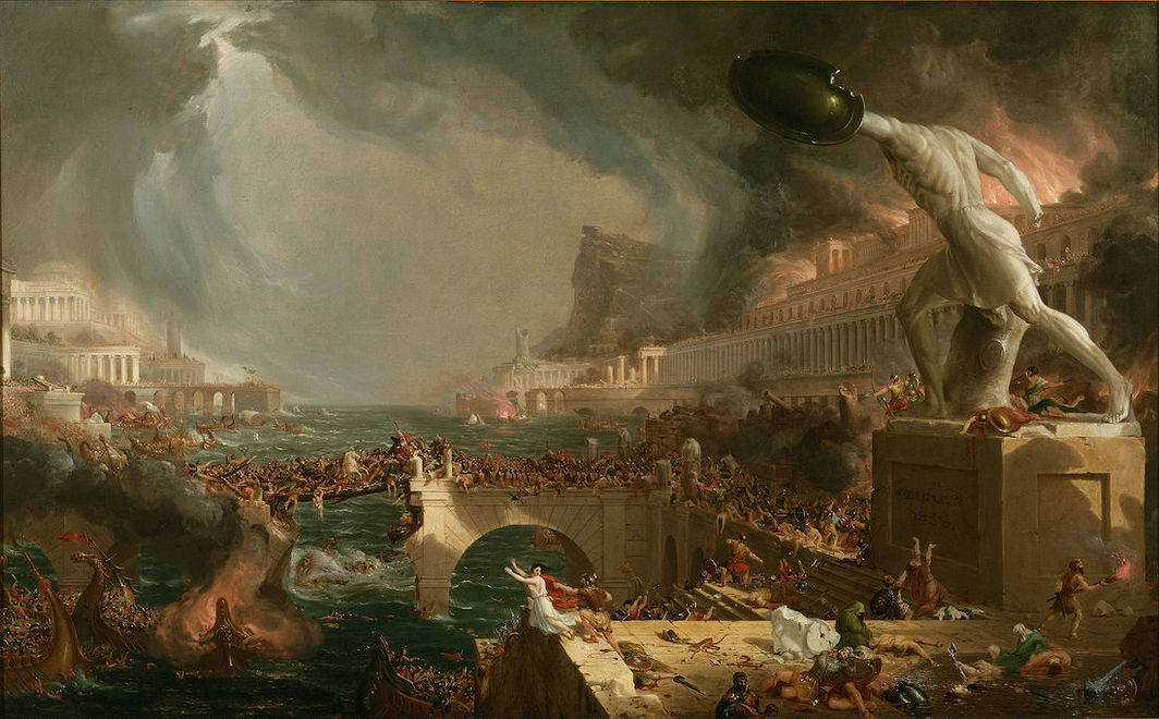 Thomas Cole, Destruction, 1836, oil on canvas, 39 1⁄2 × 63 1⁄2