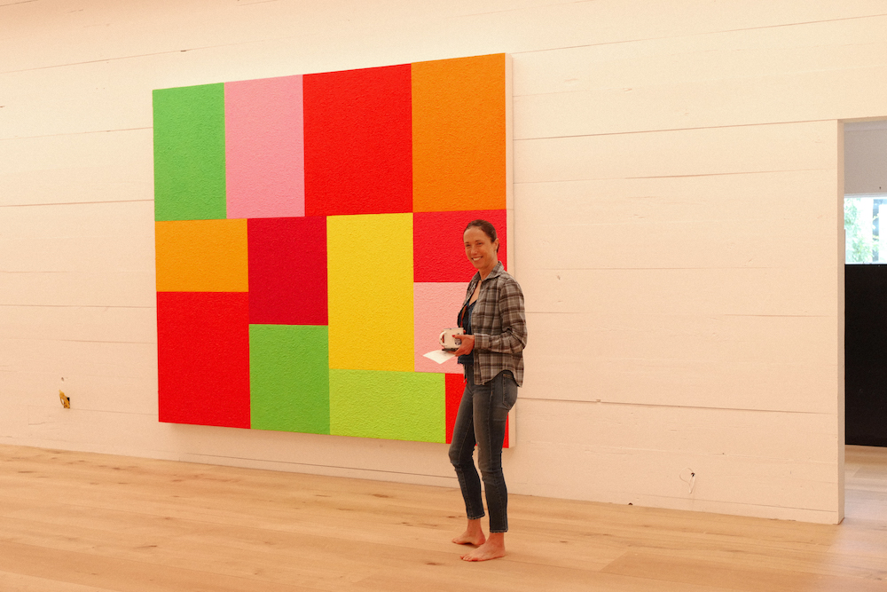 """A painting by Peter Halley featured in """"Peter Halley: Blocks,"""" the inaugural show at the Ranch."""