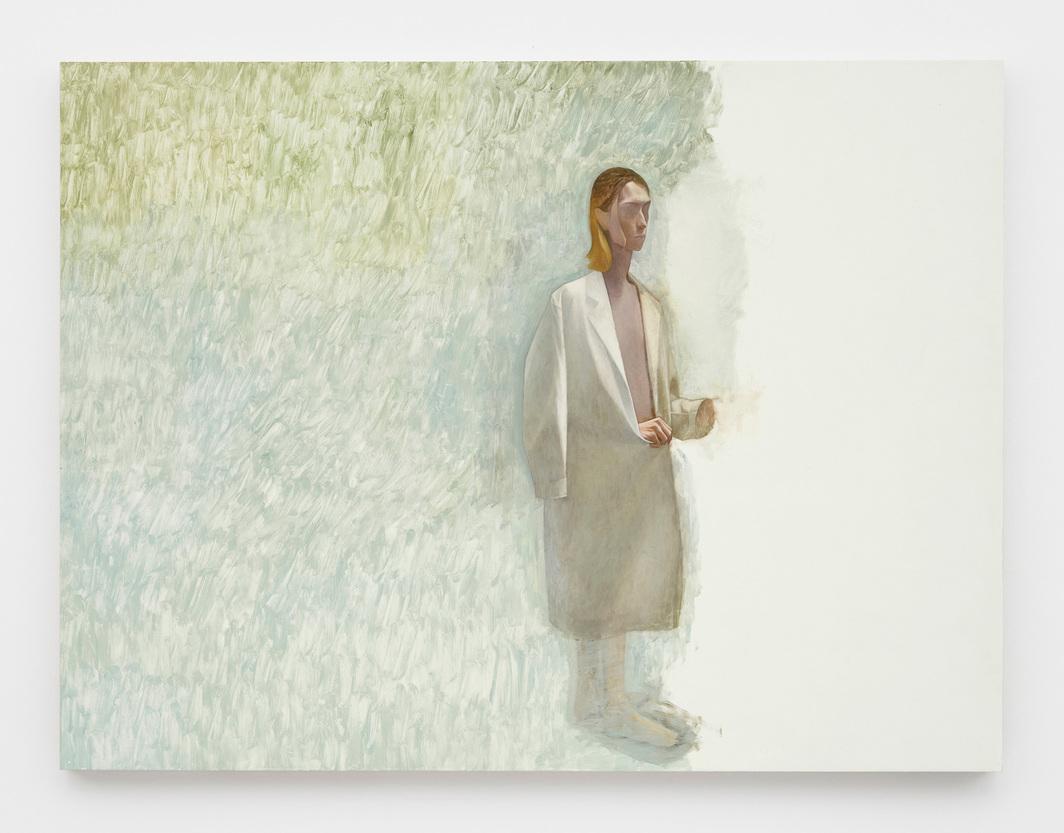 """Julien Nguyen, Woman in a lab coat, 2020 oil on panel, 35 1/2 x 47 1/4""""."""