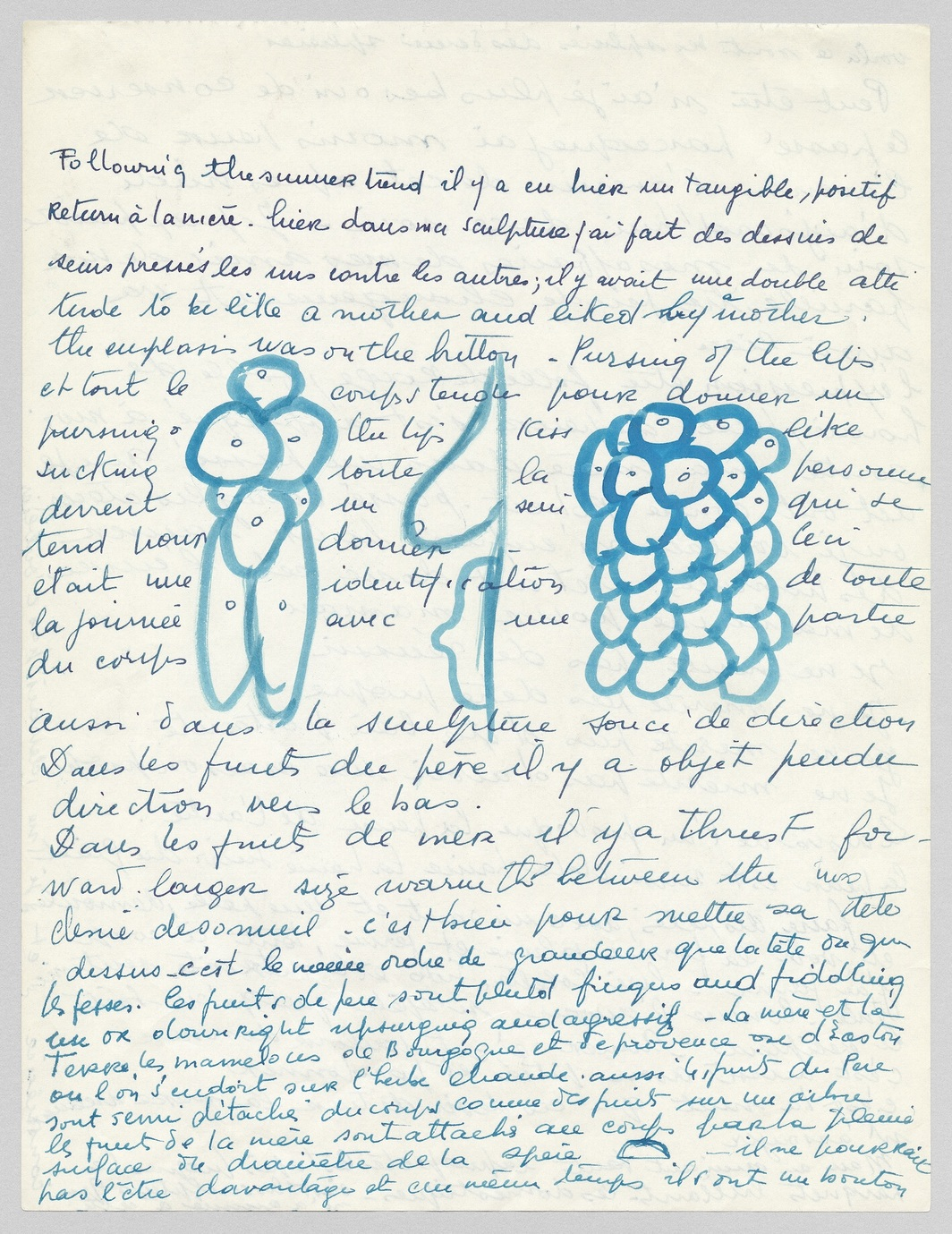 Louise Bourgeois, loose sheet of writing, c. 1959, handwritten in turquoise blue ink on off-white paper, 11 x 8 1/2''. Louise Bourgeois Archive, LB-0464. © The Easton Foundation/Licensed by VAGA at Artists Rights Society (ARS), NY.