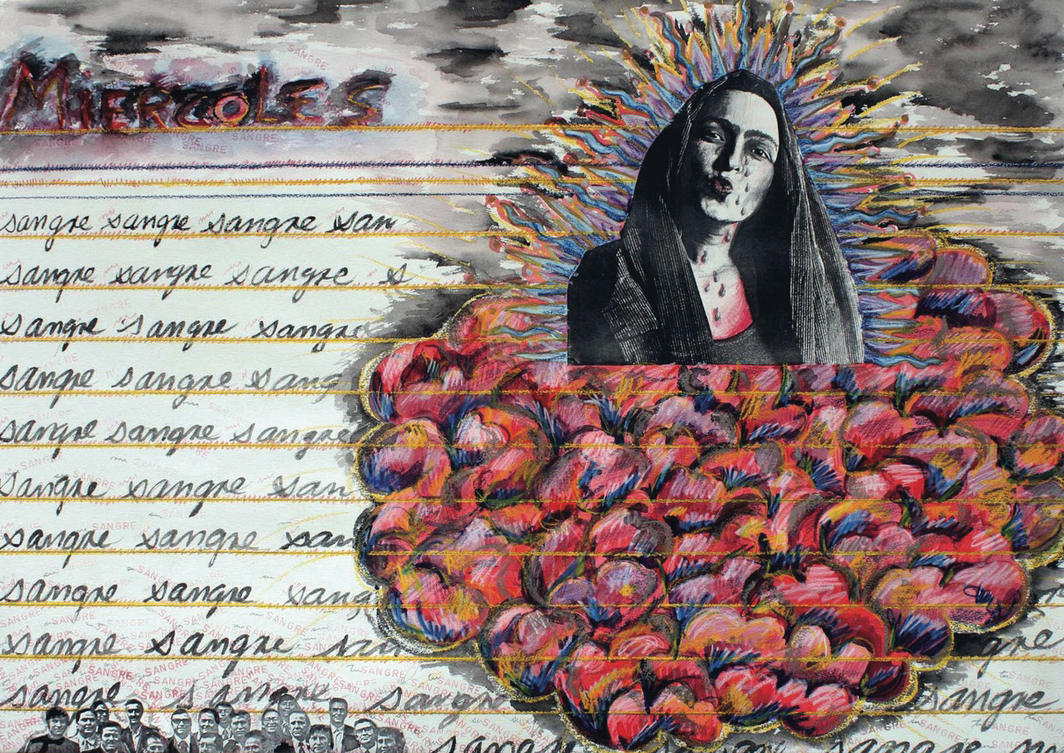 """Mónica Mayer, Wednesday (from the series """"Diary of Everyday Acts of Violence""""), 1984, gouache, ink, pastel and photocopy on paper, 27 1/2 x 35 3/8"""