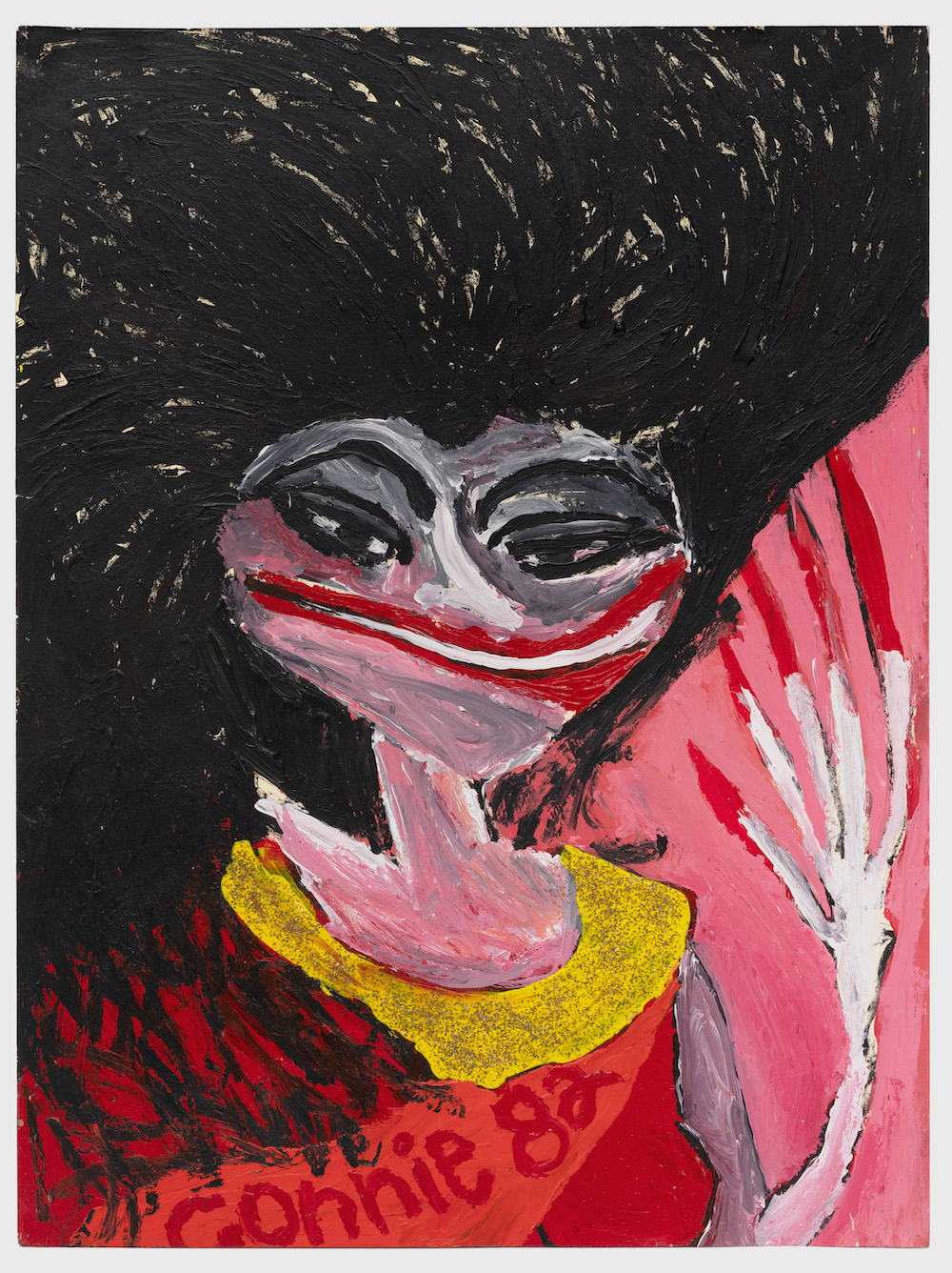 Tabboo!, Connie Francis at San Janero Festival 1982, acrylic and glitter on paper, 27 x 20