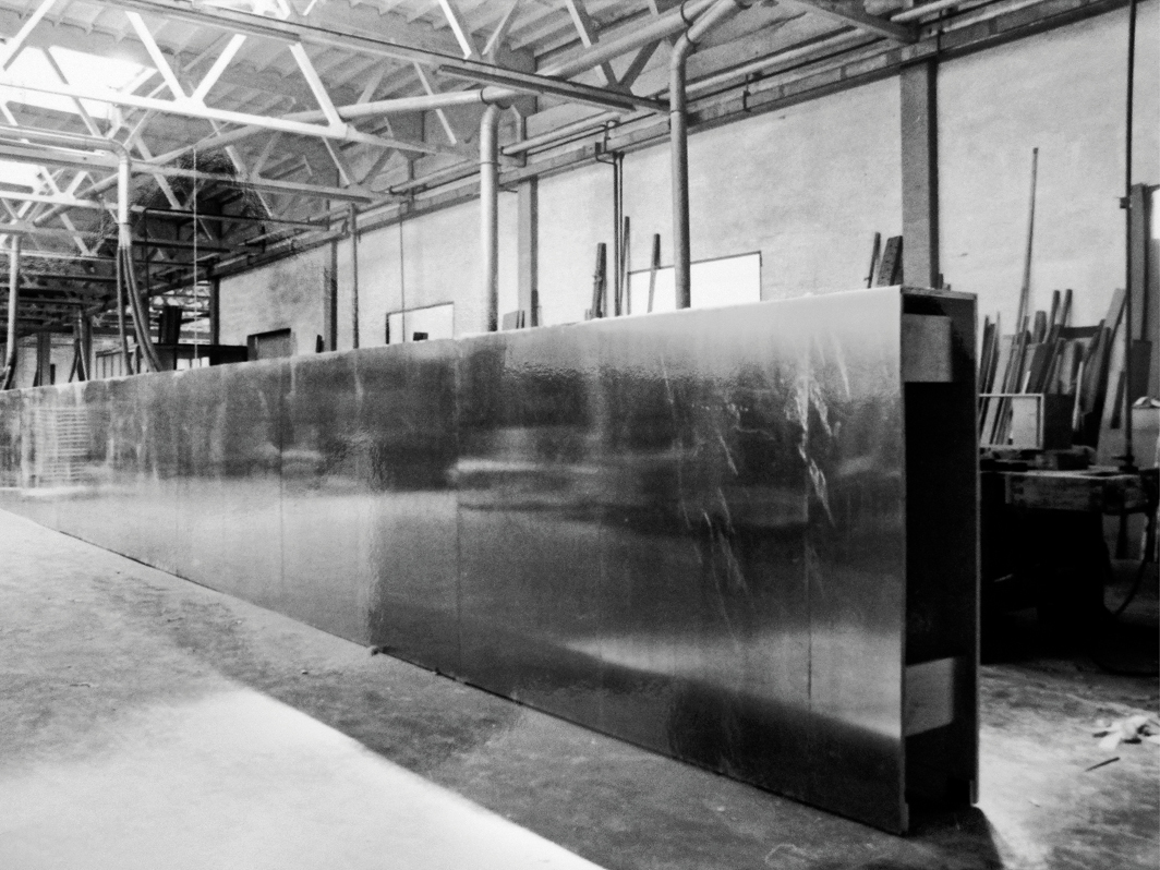 Giuseppe Panza's unauthorized and decommissioned 1988 fabrication of Donald Judd's copper untitled, 1974, Sala Luigi di Pietro, Milan, 1988.