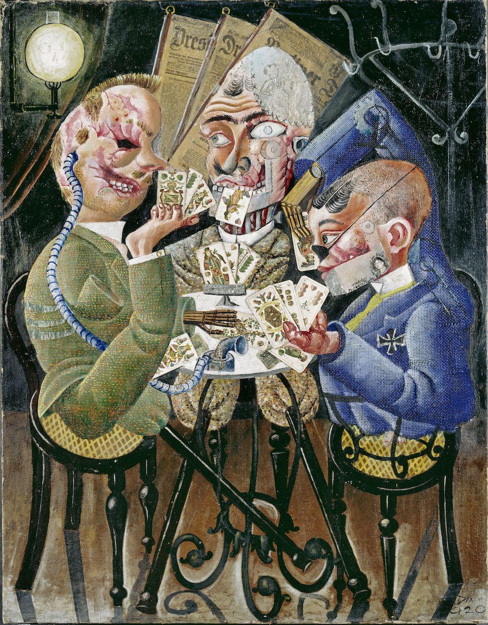 Otto Dix, Die Skatspieler (Skat Players), 1920, oil on canvas, 110 x 34 1/2