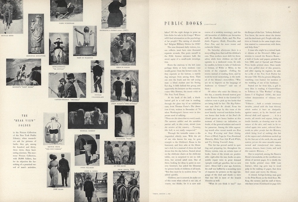 """A 1949 feature on the New York Public Library in Vogue magazine featured images, selected by Walker Evans, from the Picture Collection's """"Rear View"""" folder. Photo: Condé Nast."""