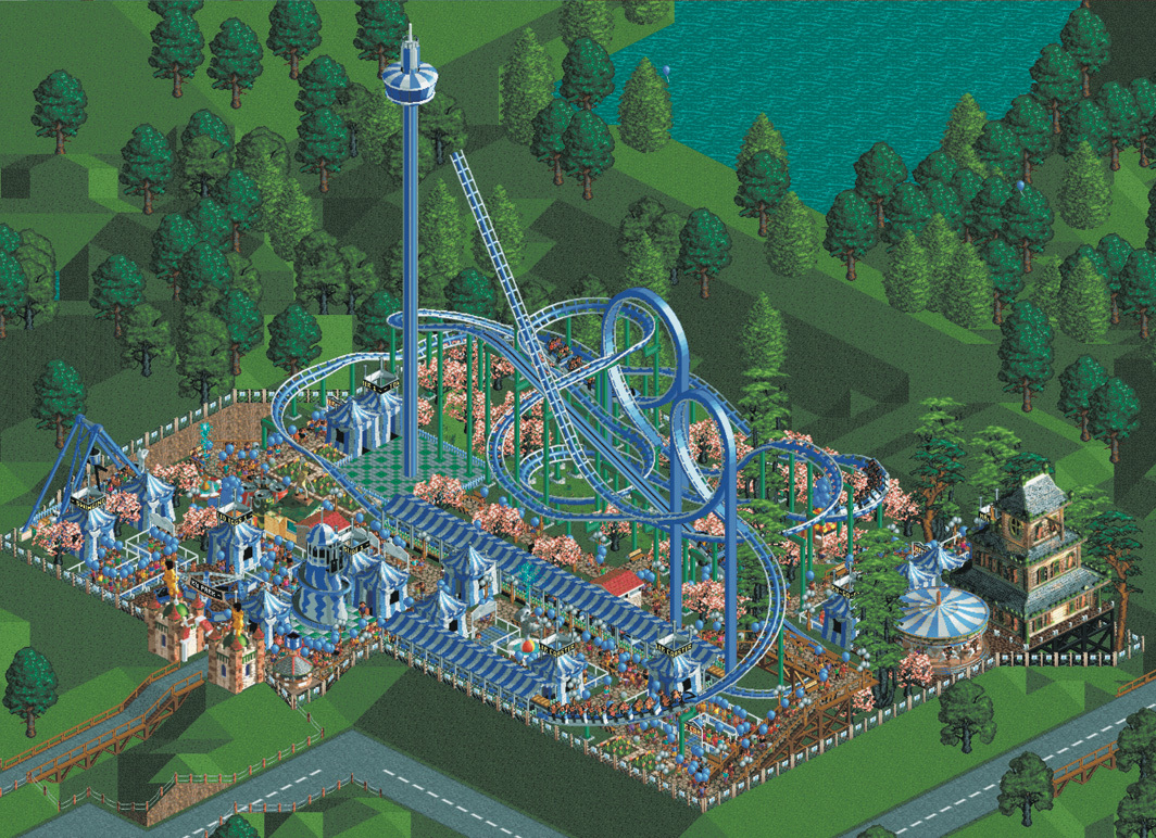 Screenshot from Chris Sawyer's video game RollerCoaster Tycoon (Hasbro Interactive, 1999).