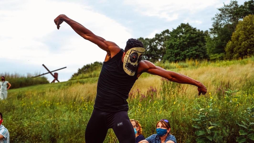 Rashid Johnson, The Hikers, 2019. Storm King Art Center, New York, August 2021. Photo: Ruilian Son.