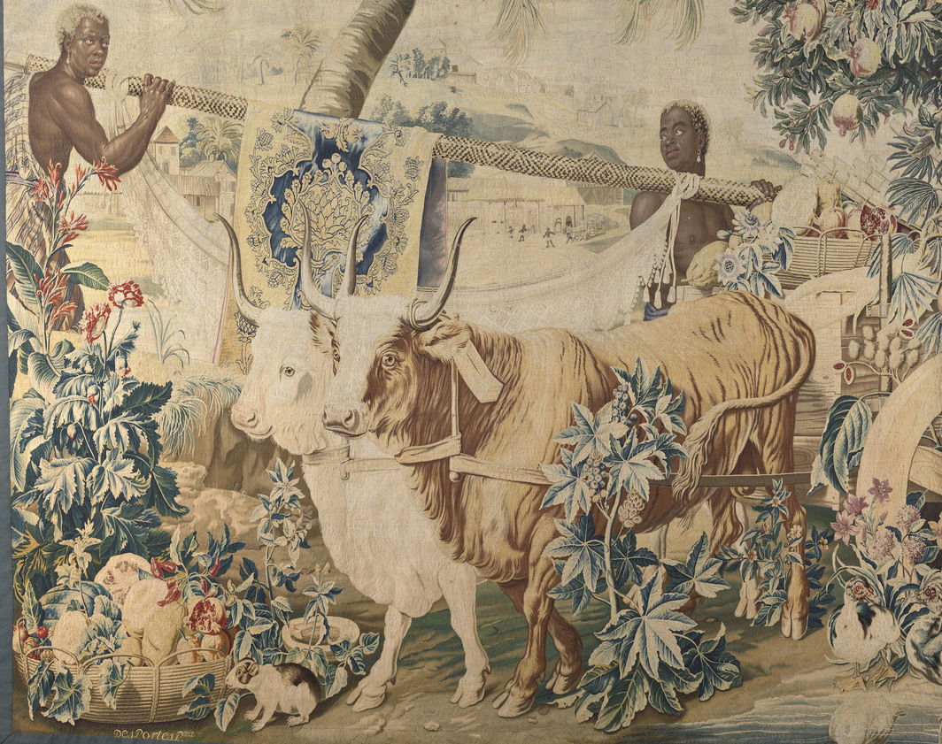 """The Two Bulls (detail), 1795, tapestry, dimensions unknown.  From the series """"New Indies),"""" commissioned in 1735. Photo: Benjamin Gavaudo / Wikimedia Commons."""
